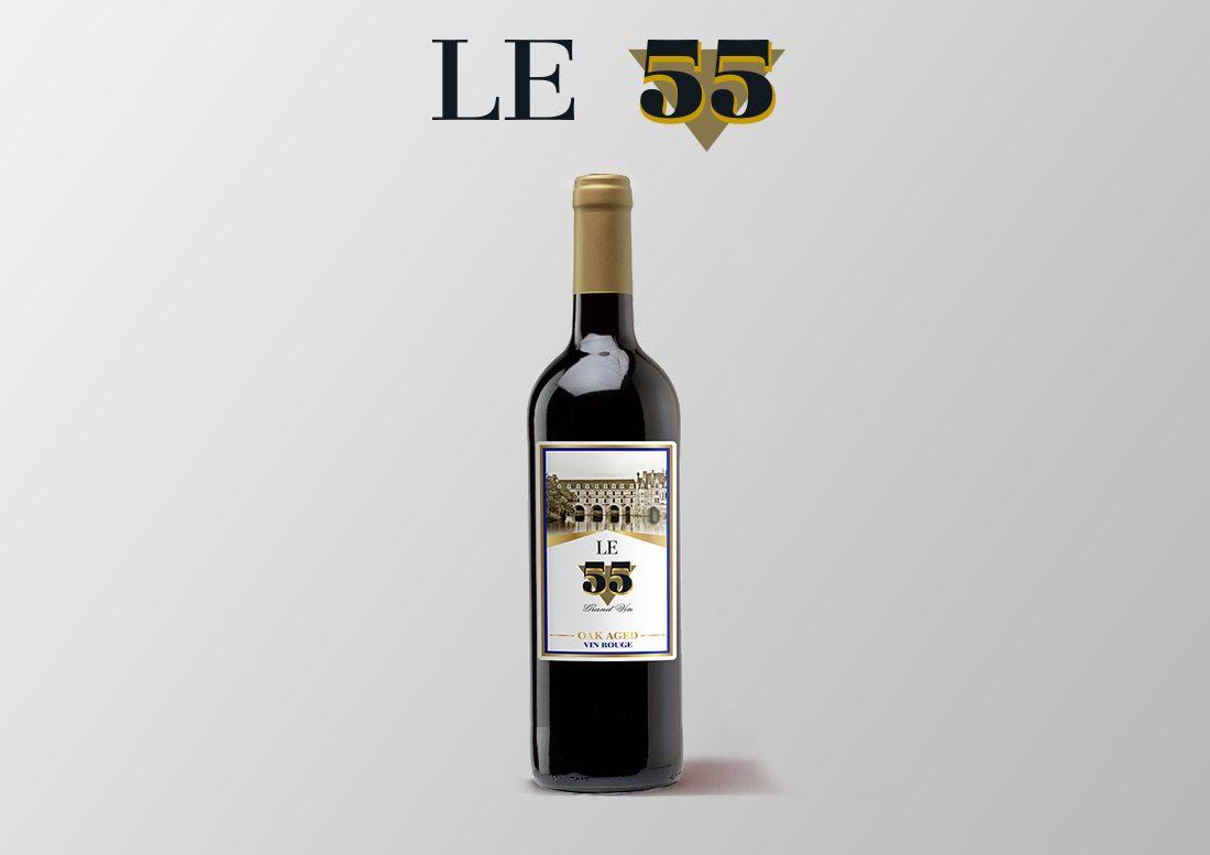 vino tinto seco español le 55